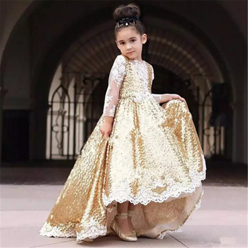 2-14Y Floor-Length Kids Sequin Flower Girls Dress Kids Pageant Party Wedding Ball Gown Prom Princess Formal Occasion Girls Dress children flower girls dress princess kids dress with bow summer flower girls wedding party clothes kids prom gowns with necklace