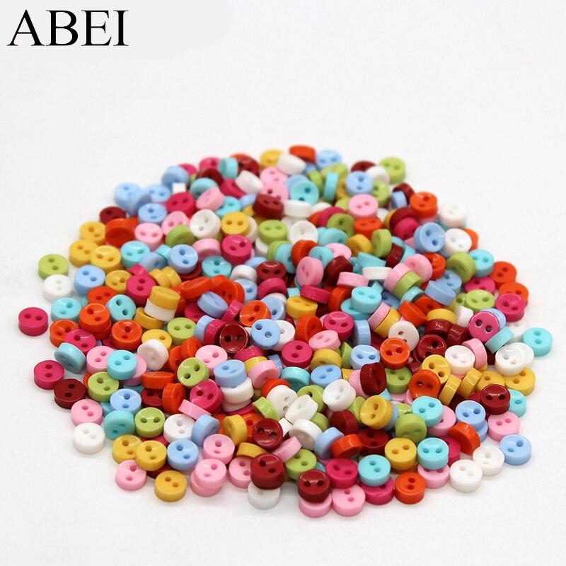 600 unids/lote 6mm mezcla de colores Mini pequeña resina botones de plástico Diy botones manualidades hecho a mano coser herramientas Ropa Accesorios