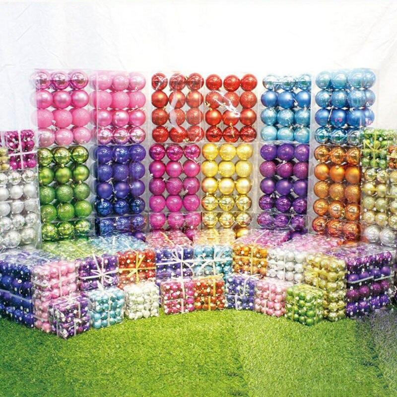 24Pcs/Set 4CM Plastic Christmas Decorative Balls for DIY Xmas Party Wedding Baubles Hanging Ornament for Home Christmas Decor