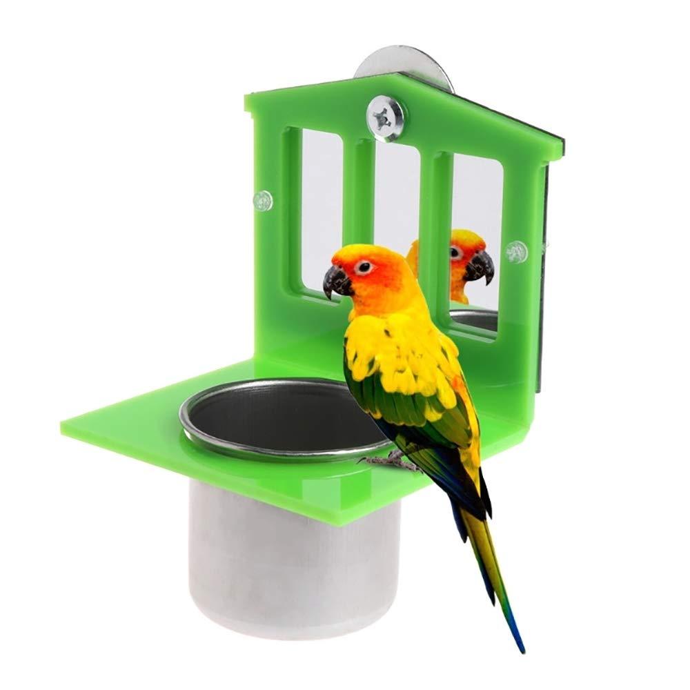 Bird MirrorToys with Stainless Steel Parrot Food & Water Bird Cup Dish Feeder Bowl Parakeet Cockatiel Conure Lovebirds