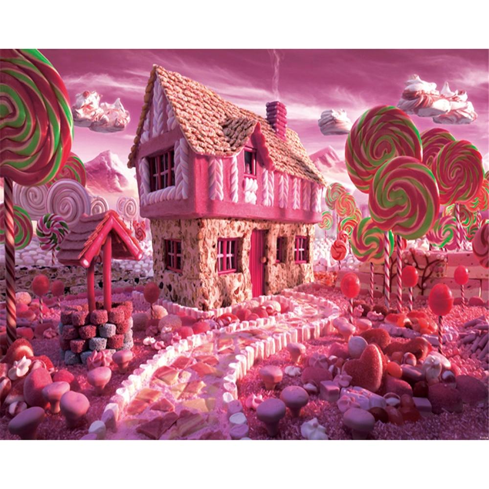 Fondo fotográfico Rosa Candyland impreso nubes azúcar Camino a Casa princesa bebé niña fiesta de cumpleaños Fondo para fotomatón