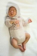 Babyspielanzug und hut ein satz stricken langärmelige strampler handmade newborn größe strampler, einzigartige tripromper mit langen ärmeln