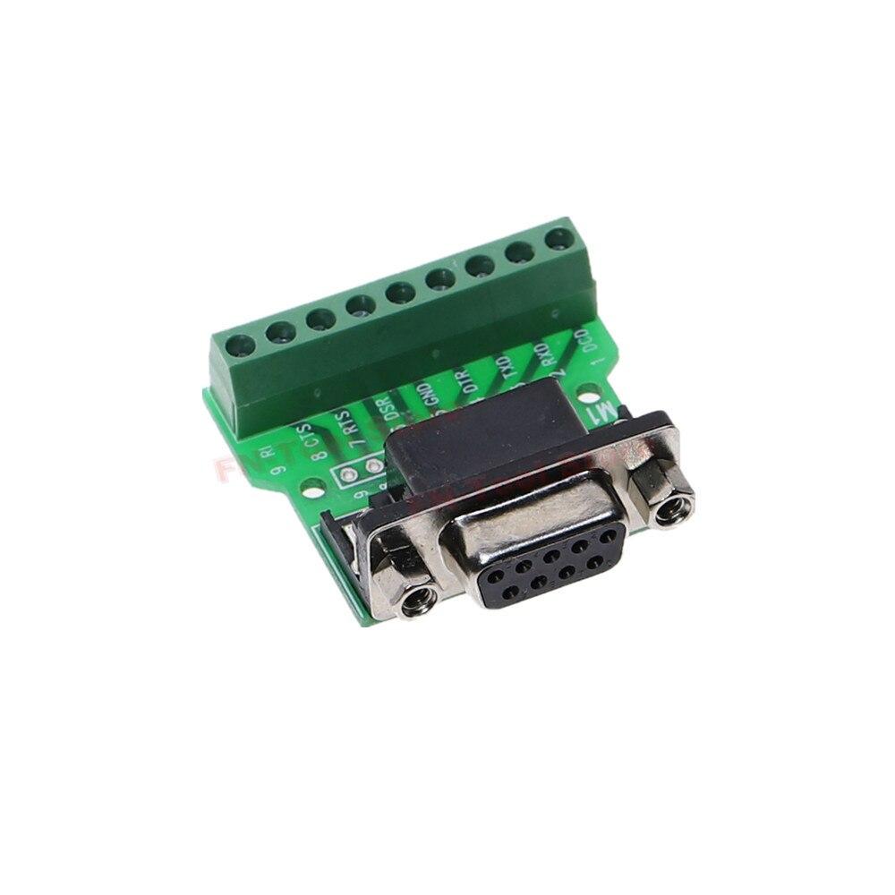 Puerto serie transferencia terminal DB9-MA RS232 serie Terminal hembra adaptador de placa de adaptación de conector negro + verde
