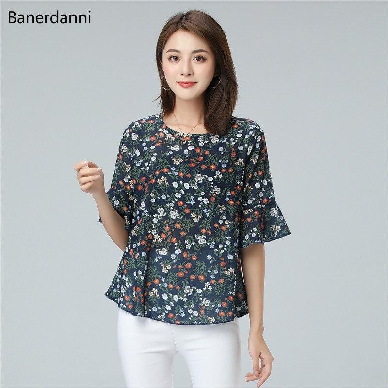 Banerdanni, nuevo producto para mujer, blusa de chifón para verano con estampado de flores, blusa informal con manga murciélago, blusa de talla grande 5XL, Top holgado para mujer