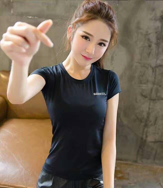 Camiseta deportiva de secado rápido para mujer, camiseta negra transpirable con letras, camisetas de yoga y gimnasio de manga corta