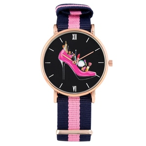 Women's Watch Elegant Rose-red High Heeled Shoes Pattern Quartz Watch Nylon Strap Wristwatch for Lady