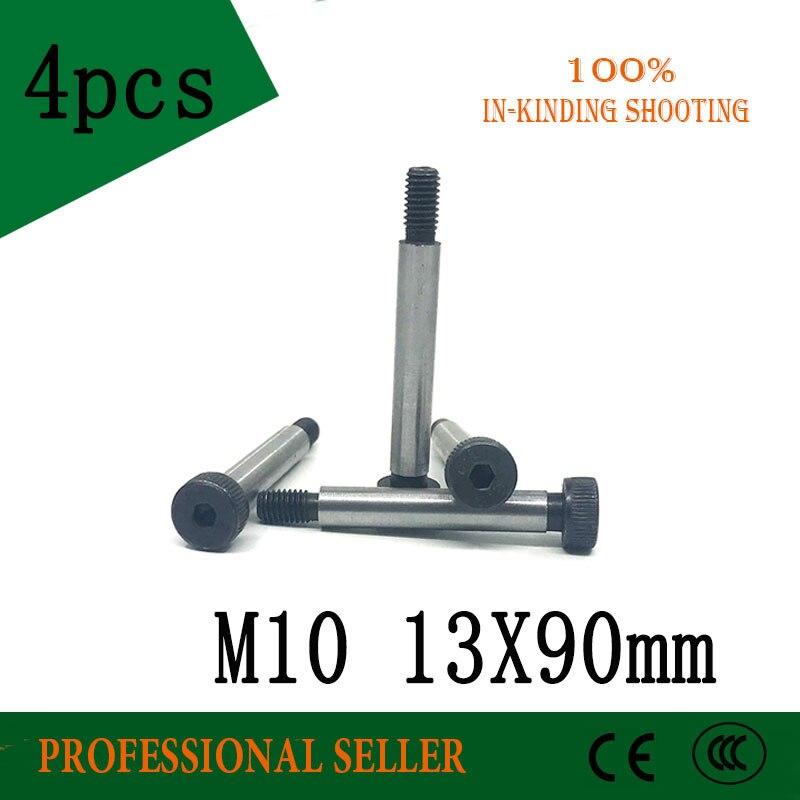 4 piezas M10 rosca 13*90mm 12,9 grado aleación acero tornillo con cabeza hexagonal tornillo de hombro perno