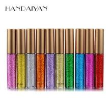 HANDAIYAN Glitter Eyeliner Eyes Make Up Liner  Easy to Wear Waterproof Pigmented Red Silver Gold Metallic Liquid Eyeliner