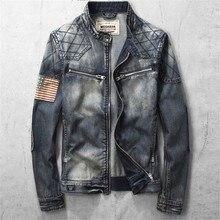 Denim Jacket Men Plus Size Mens Stand Collar Cotton Denim Jackets Slim Fit Zipper Vintage Outerwear Jeans Clothing A1713