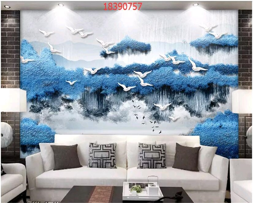 beibehang Custom size new Chinese embossed three-dimensional ink landscape 3D landscape painting wallpaper decoration painting