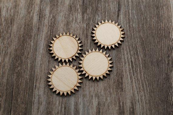 Adornos con forma de Sol de madera decoración artesanal regalo Decoupage corte láser sin pintar