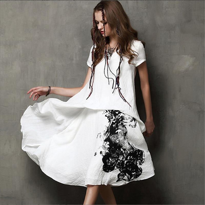 Винтажное платье для каллиграфии, женское летнее платье из 80% хлопка + 20% льна с коротким рукавом и треугольным вырезом, с белыми чернилами