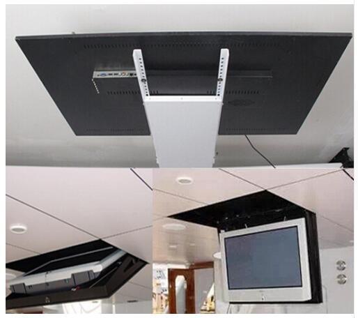 بمحركات الكهربائية المخفية الوجه أسفل سقف مُعلق Led تلفاز Lcd رفع جبل شماعات حامل وظيفة التحكم عن بعد 110 فولت-250 فولت 1 قطعة