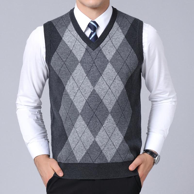 Мужской облегающий свитер, трикотажный джемпер в клетку, жилет в Корейском стиле, повседневная одежда для осени, 2021