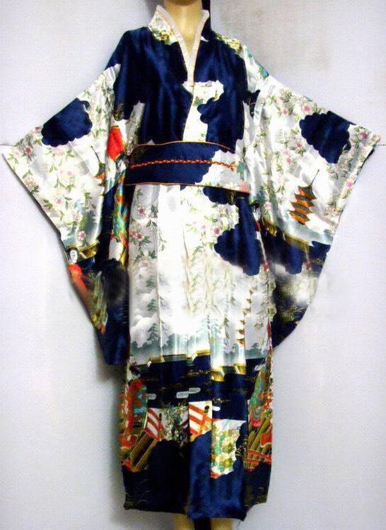 Navy blue Japanese Women's Silk Satin Kimono Yukata Evening Dress Haori Kimono With Obi peri One Size H0016-D