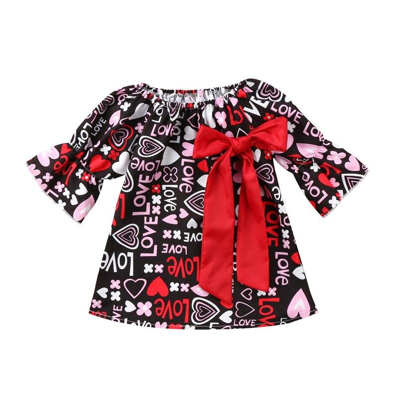 Мини-Платье с принтом в виде букв для новорожденных девочек на День святого Валентина, платье для торжеств с бантом и цветочным принтом, оде...