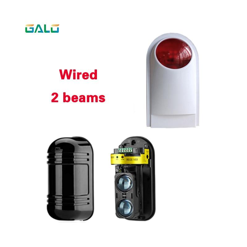 Sensor de doble haz, Detector de intrusión infrarroja activa, radiación infrarroja, barrera de pared perimetral para exteriores de 150m, con lámpara de alarma