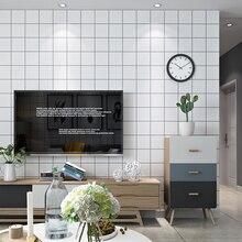 Nordic Style Lattic Wallpaper TV background Black and White Checker square Geometry Bedroom Living Room Modern Fashion Wallpaper
