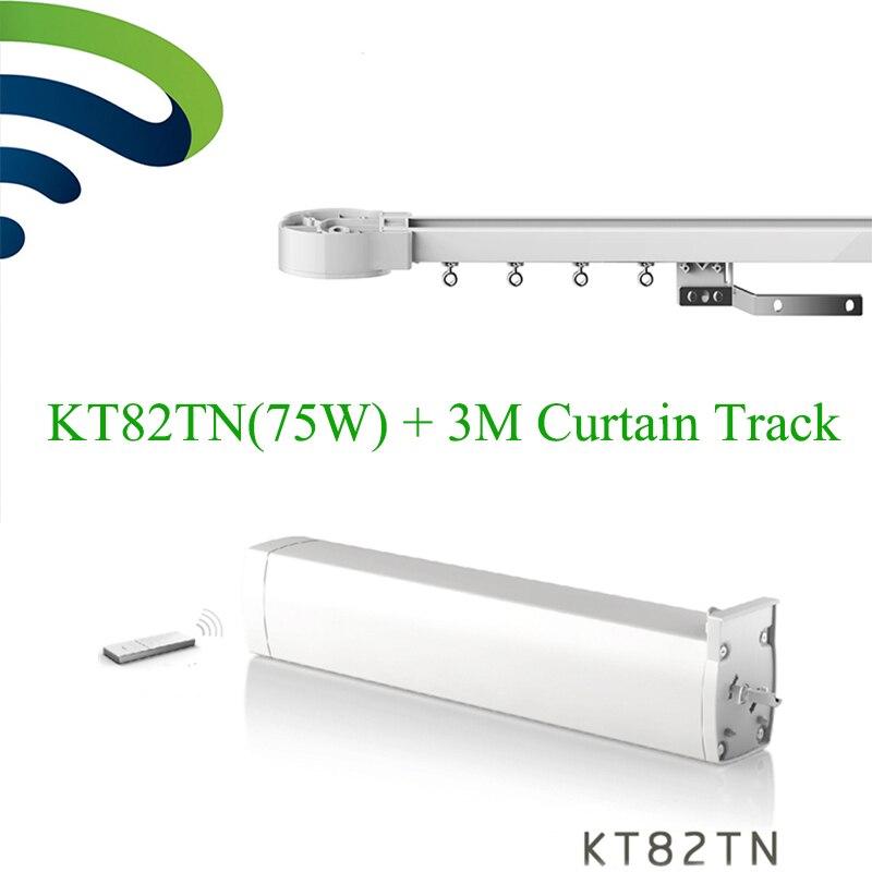 Dooya eléctrica cortina Motor KT82TN remoto 100-240V 50/60MHZ + 3M de aluminio para cortina de ventana varilla pista