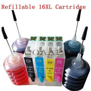4PK Refillable Empty Ink Cartridge 16XL T1631 T1621 T1635 For WorkForce WF 2010W/2510/2520NF/2660DWF Printer +120ML Dye ink