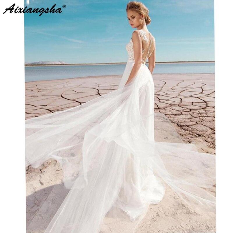Vestido de novia barato 2019 con apliques laterales Split encaje Top A-line Sexy boda romántica nupcial vestido de novia con tul boda