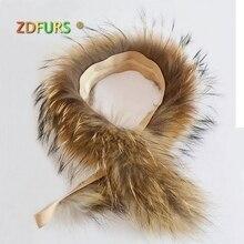 ZDFURS * воротник из натурального меха 100% натуральный мех енота шарф 70 см меховая отделка пухового пальто меховая полоска/с капюшоном
