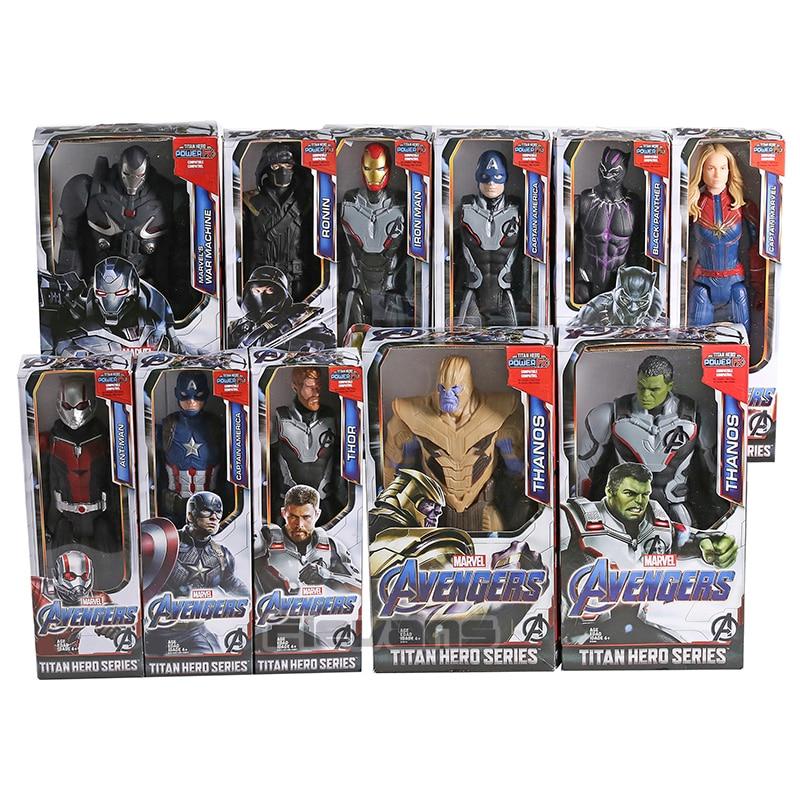 Avengers Endgame Thanos Hulk Captain America Iron Man Thor War Machine Ant Man Titan Hero Power FX PVC Action Figure Toy