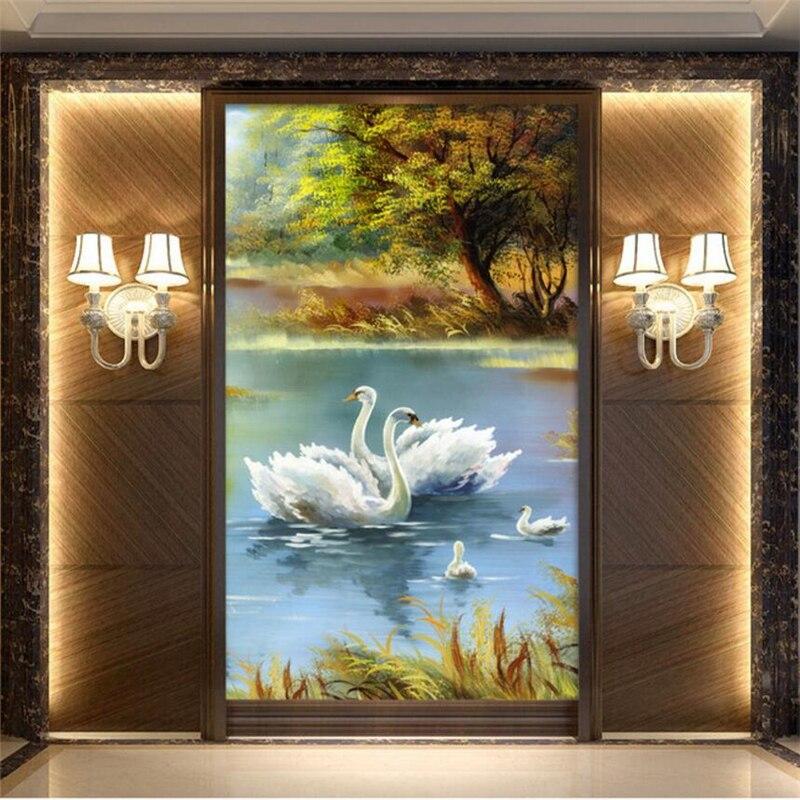 Papel pintado de encargo de la foto de well Yu 3D gran mural de cisne pintura al óleo paisaje abstracto Arcade TV fondo de papel tapiz papel de parede