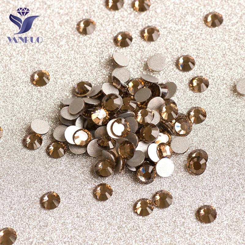 YANRUO-Diamantes de SS30-SS34 de topacio ahumado, decoración de Cristal, apliques Strass sin...