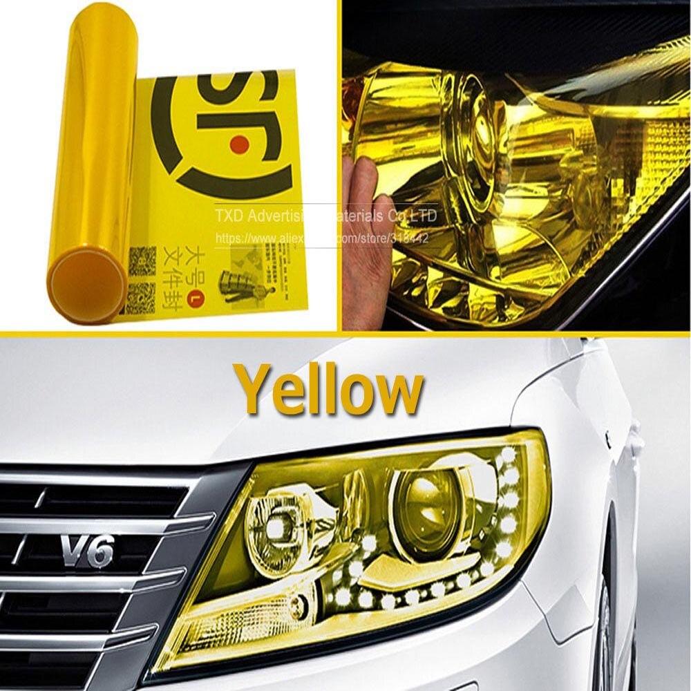 9 m/rollo a prueba de arañazos 3 capas coche faro película Auto coche pegatina humo amarillo luz antiniebla luz trasera tinte película de vinilo