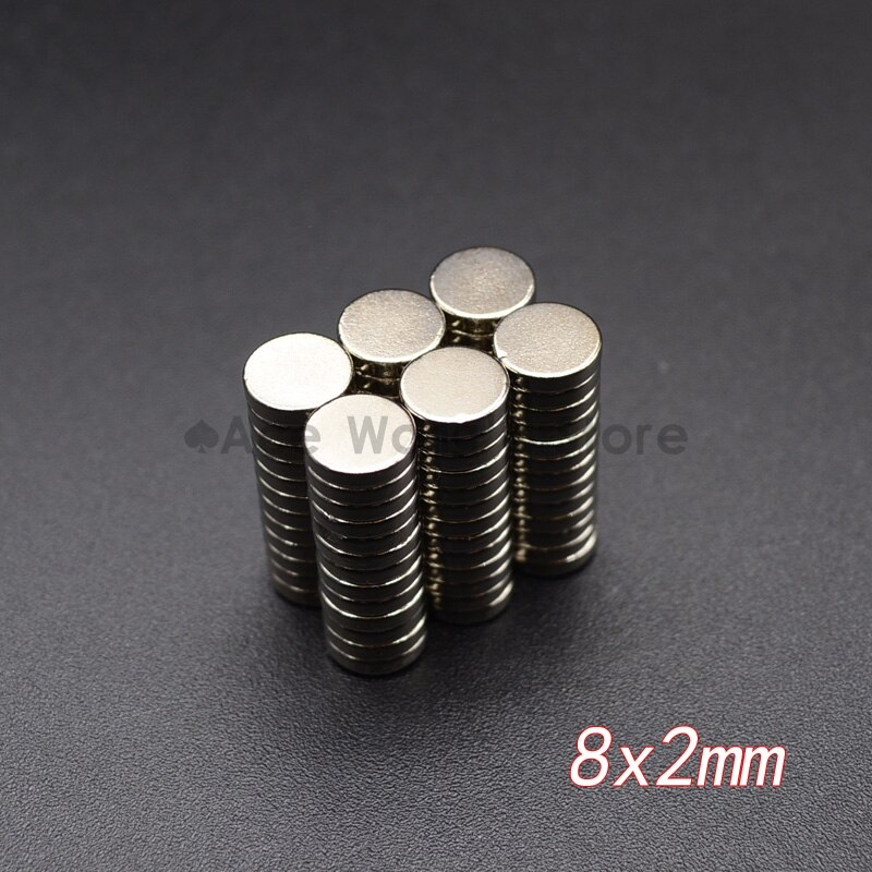 10 Uds. Imanes de disco de neodimio 8x2mm N35 Super fuerte tierra rara 8mm x 2mm pequeño imán redondo