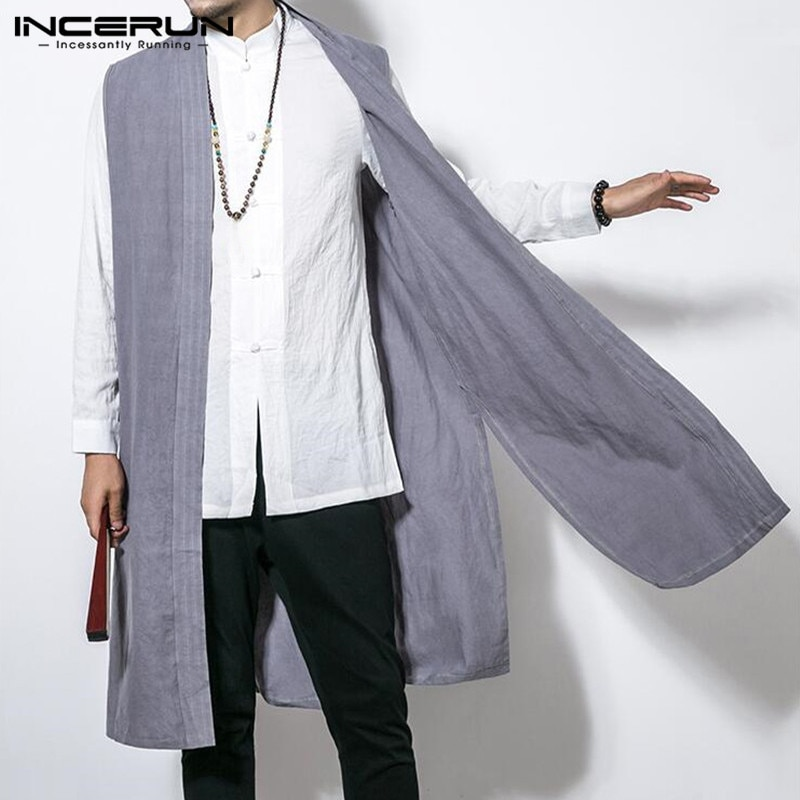 INCERUN Men's Vest Long Trench Sleeveless Cotton Solid Men Waistcoat Chinese Style Retro Casual Cloak Thin Outerwear Jackets 5XL