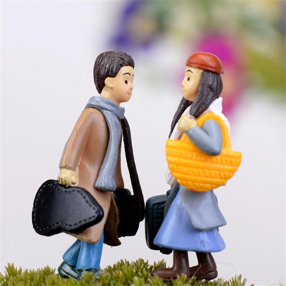 Милый любовник девочка мальчик изделия из смолы мини пейзаж Сказочный Миниатюрный Сад гном, мох бонсай для террариума украшения
