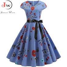 Imprimé fleuri femmes robes dété 50s 60s col en v grande balançoire robe Vintage élégant parti décontracté à manches courtes grande taille robe Midi