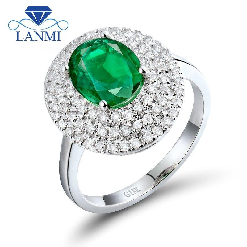 لانمي 2.2ct الطبيعية الزمرد الماس الزفاف النساء خواتم الصلبة 18kt الذهب الأبيض زامبيا الزمرد خاتم الأحجار الكريمة الطبيعية مجوهرات