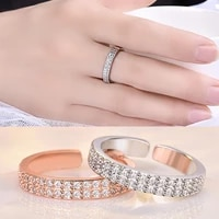 double row crystal aaa cubic zircon ring for women fashion jewelry wedding engagement ring female jewelry hot sale
