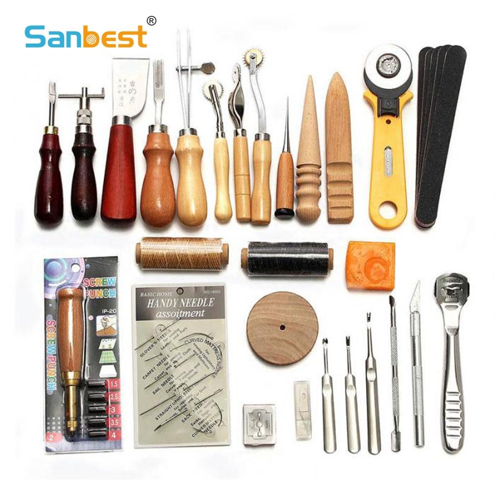 Sanbest المهنية أدوات حرفية جلدية عدة اليد الخياطة خياطة لكمة نحت العمل ثقب السرج Groover مجموعة اكسسوارات لتقوم بها بنفسك