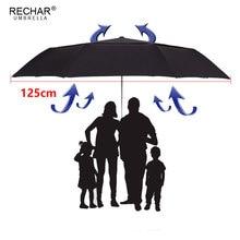 RECHAR ماركة 125 سنتيمتر مظلة بطبقة مزدوجة كبيرة للرجال 3 أضعاف يندبروف عالية الجودة التلقائي المطر النساء في الهواء الطلق مظلة قوية