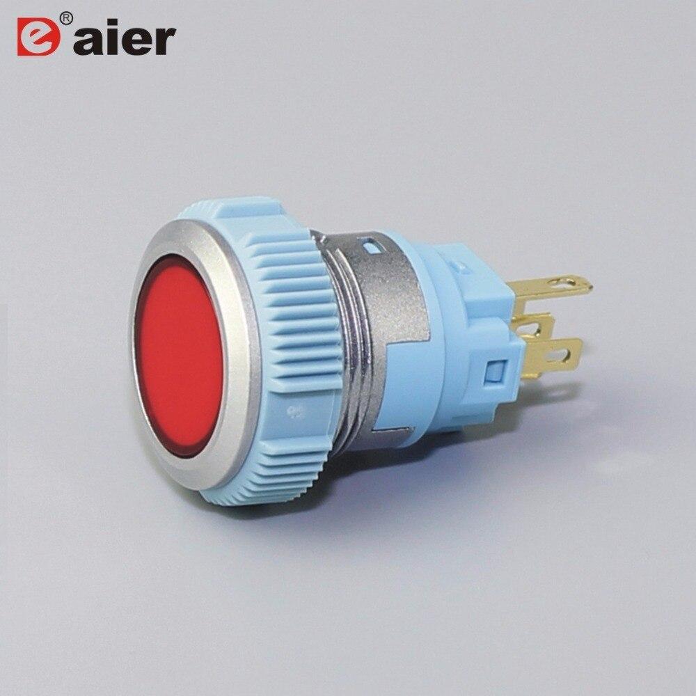 زر ضغط فوري ، 5 سنون ، أحمر/أخضر/أصفر/أزرق ، مع ضوء 220 فولت ، 20 قطعة ، IP65 5A 250VAC ، 19 مللي متر