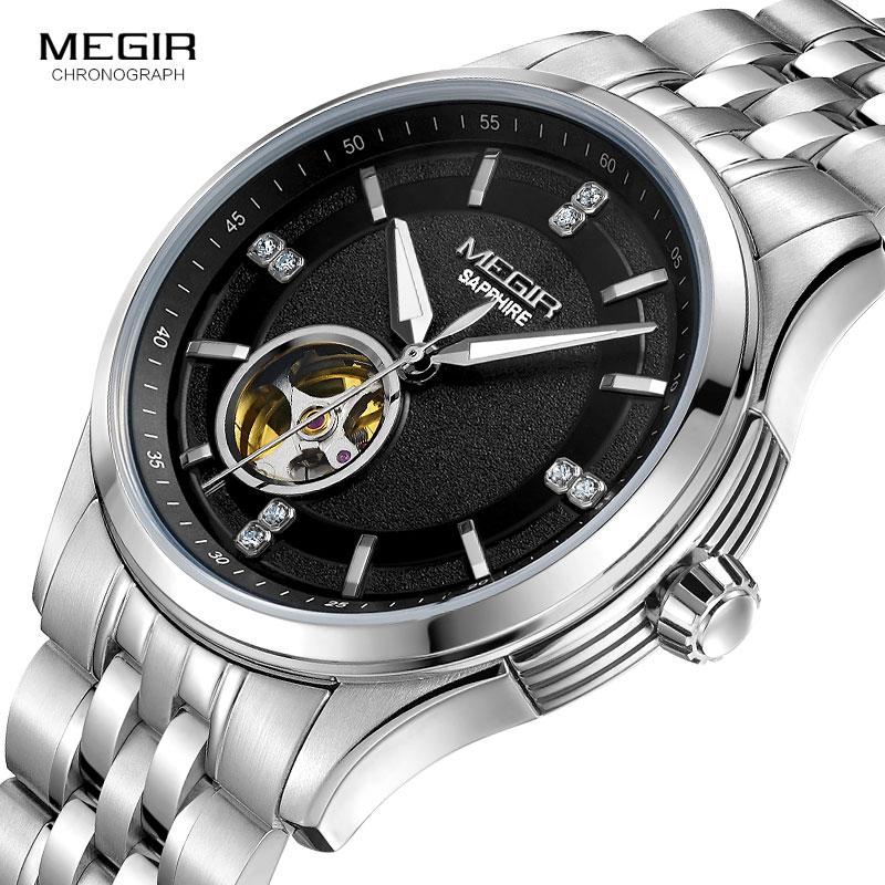 MEGIR-ساعة رجالية ميكانيكية ، سوار فولاذي ، مقاومة للماء ، MS62055G ، 2019