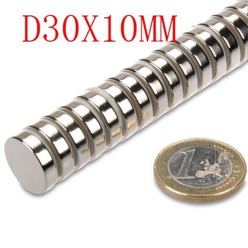 10 Uds 30 mm x 10 mm x 10 mm disco de poderosa nave magnética imán de neodimio de la tierra rara fuerza permanente N35 N35 30*10 30x10