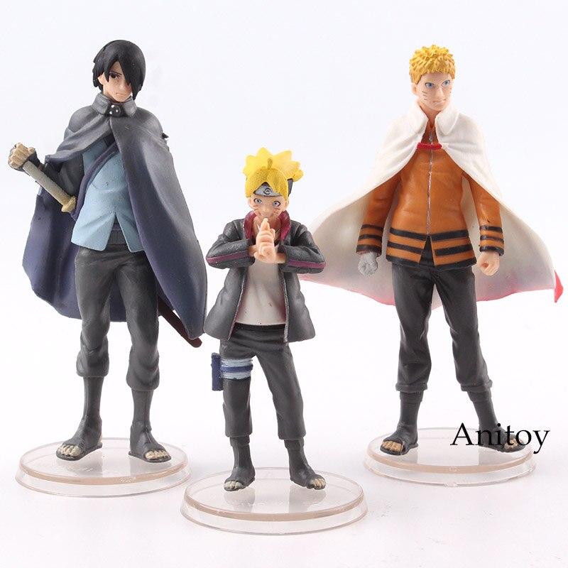 BORUTO NARUTO generaciones Uzumaki Naruto y Boruto y Uchiha Sasuke figura de acción de PVC juguete de modelos coleccionables 3 unids/set