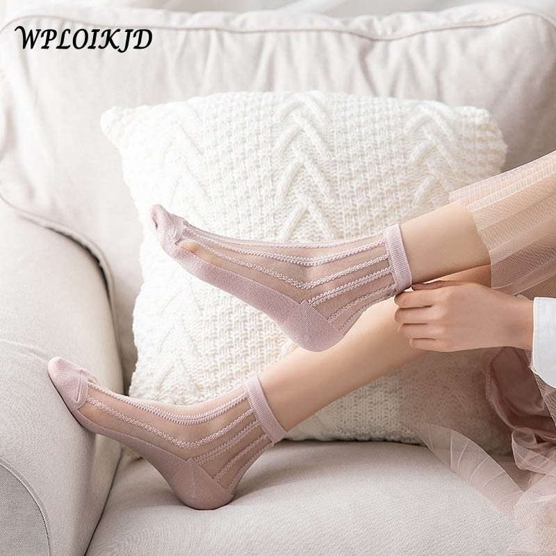 [WPLOIKJD]harajuku 1 Pair Socks Women Cute Socks Cotton Fashion Comfortable Thin Style Sexy Hollow Hosiery Short Women Socks