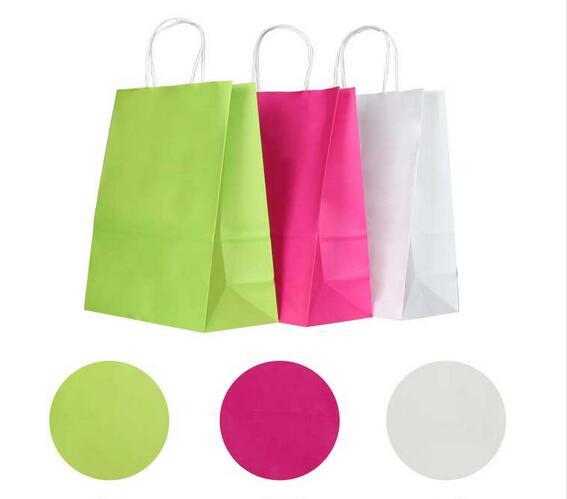 10 Pçs/lote Kraft saco de papel com alças 21*15*8cm sacos do presente do Festival para o Feliz Natal feriado de ano novo partido