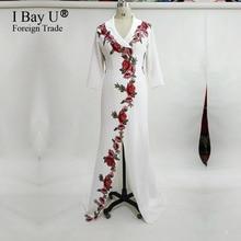 Réel De Luxe Fleur Dentelle de Soirée Dreses 2017 V Cou Vintage Meramaid Arabe Dubaï De Luxe Formelle Longue Robe De Bal Robe De soirée