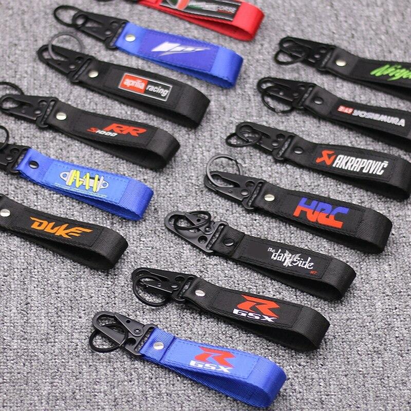 NEW Motorcycle Embroidery Strap Key Ring Keyring For Yamaha YZF R1 R6 / Aprilia / MV Agusta Motocross Key Chain Keychain