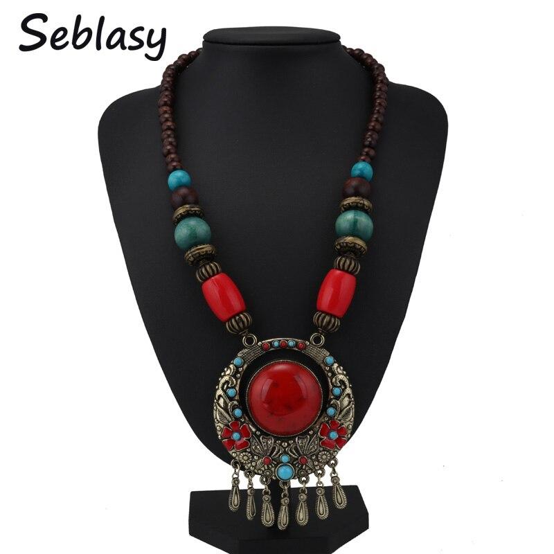 Seblasy винтажные богемные Макси резные цветы Бабочка Большие массивные бусы кисточка капельки воды ожерелье и подвески для женщин