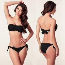 New Arrival Women's Solid Strapless Bra Bikinis Set Padded Push Up Swimsuit Bathing Suit Strappy Low Waist Swimwear Beachwear