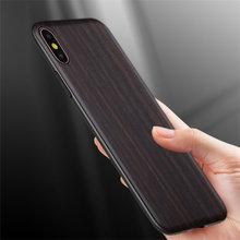 Funda de madera de ébano negra Vintage rusa para iPhone XR funda de teléfono madera lisa para iPhone XS Max 7 8 Plus