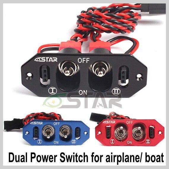 Interruptor de alimentación doble metálico de alta calidad de 6 estrellas de alta resistencia 22AWG, interruptor doble RX/CDI sin punto de combustible para barco de Avión RC